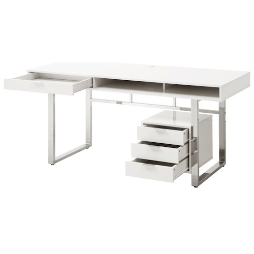 Coaster desks contemporary desk with glossy finish value city furniture table desks writing - Value city office desk ...