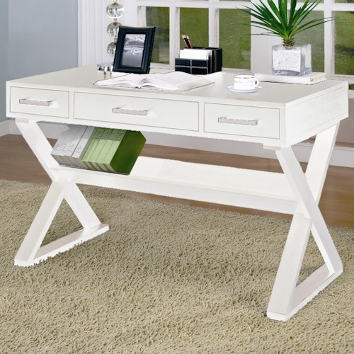 Coaster Desks Casual 3-Drawer Desk with Criss-Cross Legs