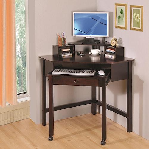 Coaster Desks Small Corner Desk with 1 Drawer & Roller