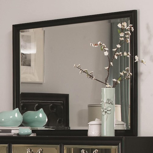 Coaster Devine Beveled Mirror with Wood Frame Molding