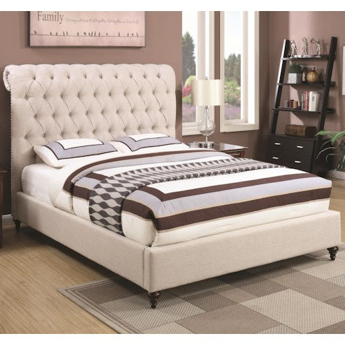 Coaster Devon King Upholstered Bed in Beige Fabric