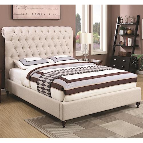 Coaster Devon Queen Upholstered Bed in Beige Fabric