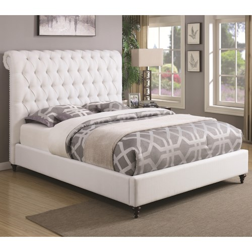 Coaster Devon King Upholstered Bed in White Fabric