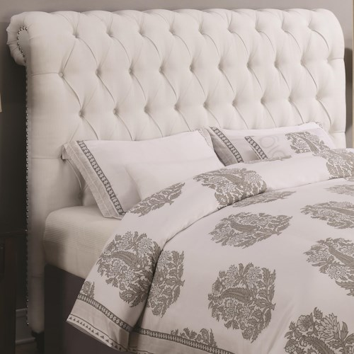 Coaster Devon California King Rolled Headboard in White Fabric