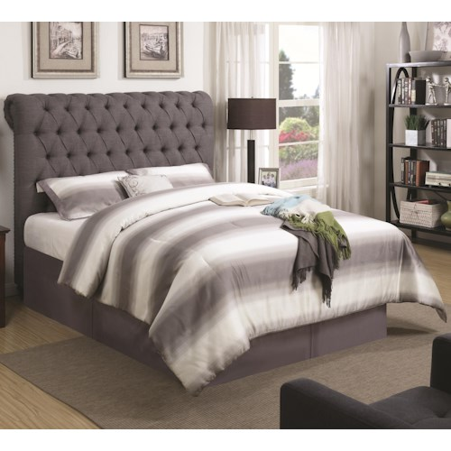 Coaster Devon King Upholstered Bed in Grey Fabric