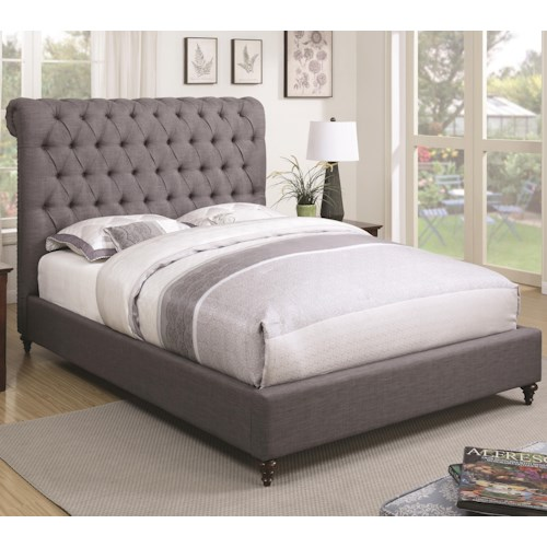 Coaster Devon Queen Upholstered Bed in Grey Fabric