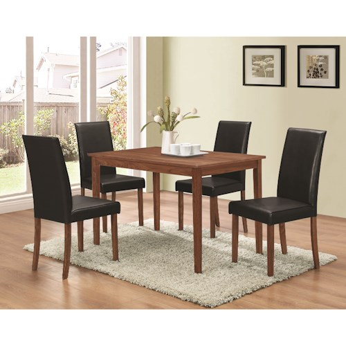 Coaster Dinettes 5 Piece Dining Set with Parsons Chairs