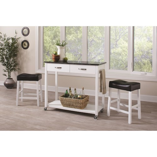 Coaster Dinettes 3 Piece Dining Set with Two-Tone Finish