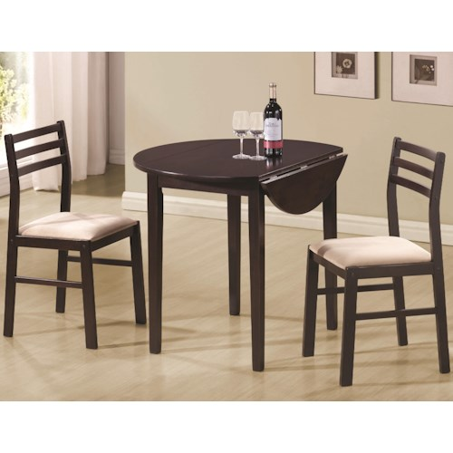 Coaster Dinettes Casual 3 Piece Table & Chair Set