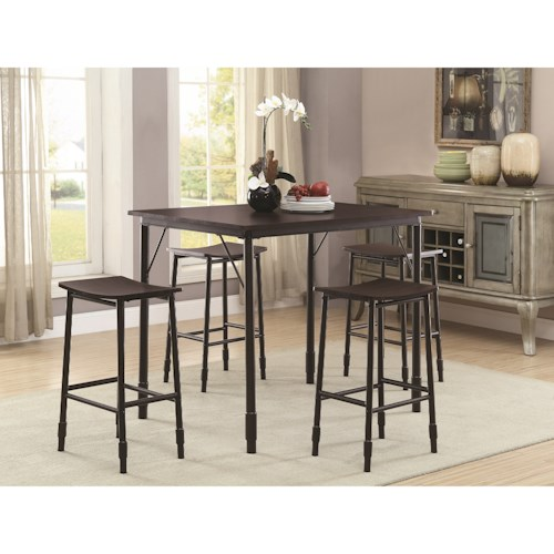 Coaster Dinettes Industrial Inspired 5 Piece Dining Set