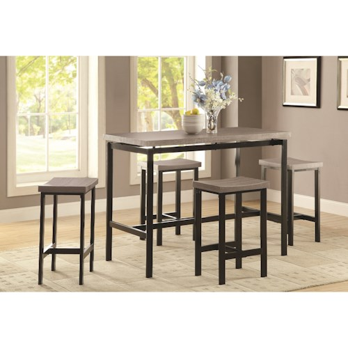Coaster Dinettes 5 Piece Counter Height Dining Set