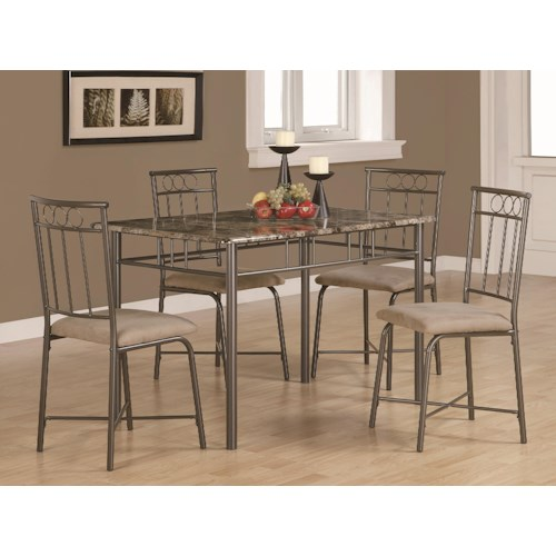 Coaster Dinettes 5 Piece Dining Set w/ Leg Table and 4 Side Chairs