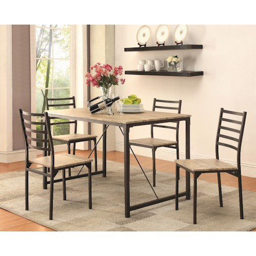 Coaster Dinettes Industrial 5 Piece Dining Set