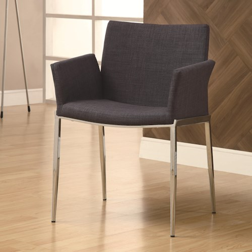 Coaster Dining 120 Charcoal Upholstered Dining Chair with Chrome Legs