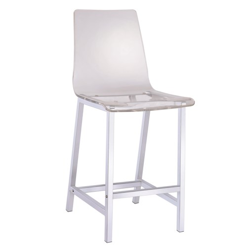 Coaster Dining Chairs and Bar Stools Acrylic Counter Height Stool with Chrome Base
