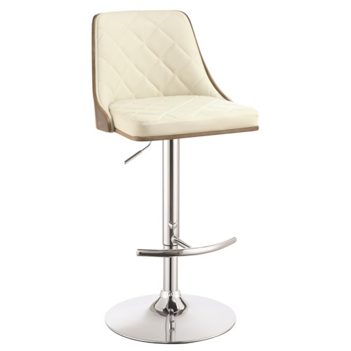 Coaster Dining Chairs and Bar Stools Upholstered Adjustable Bar Stool with Chrome Base