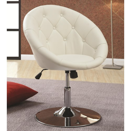 Coaster Dining Chairs and Bar Stools Contemporary Round Tufted White Swivel Chair