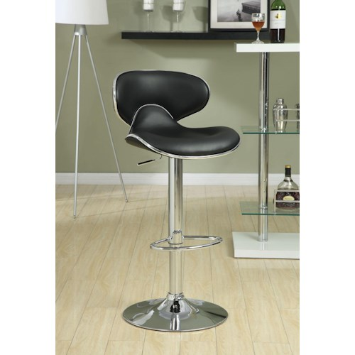 Coaster Dining Chairs and Bar Stools Adjustable Height Contemporary Bar Stool with Swivel Seat