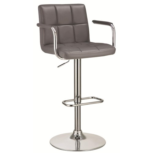 Coaster Dining Chairs and Bar Stools Adjustable Bar Stool with Grey Upholstery
