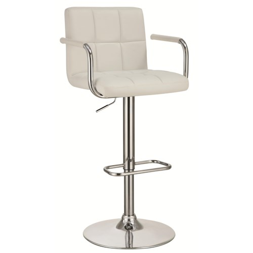 Coaster Dining Chairs and Bar Stools Adjustable Bar Stool with White Upholstery