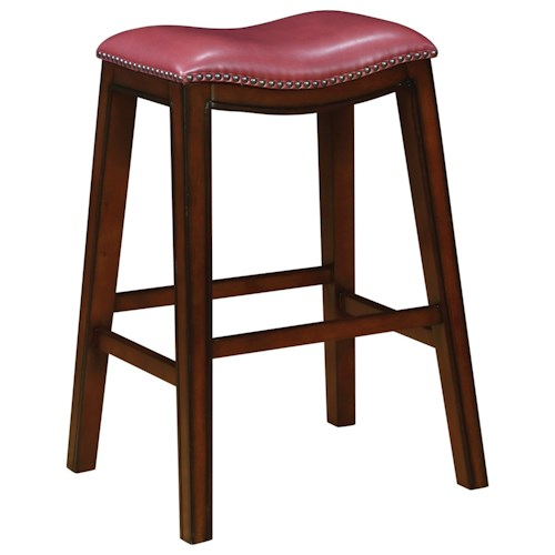 Coaster Dining Chairs and Bar Stools Upholstered Backless Bar Stool with Nailhead Trim