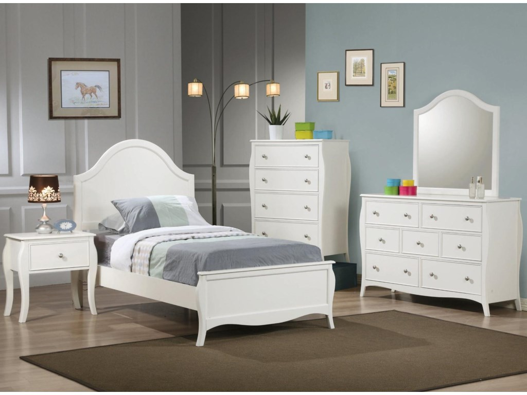 Shown in Room Setting with Nightstand, Bed, Chest and Mirror
