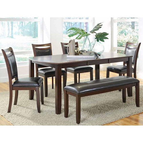 Coaster Dupree Casual Dining Table & Bench with 4 Side Chairs