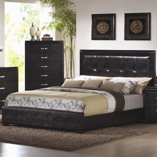 Coaster Dylan King Faux Leather Upholstered Low Profile Bed