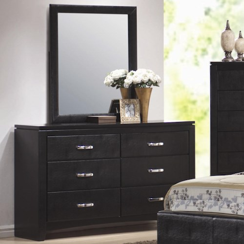 Coaster Dylan Faux Leather 6 Drawer Dresser and Vertical Mirror