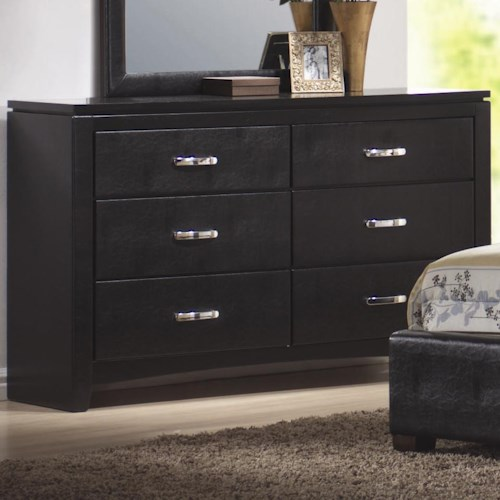 Coaster Dylan Faux Leather 6 Drawer Dresser