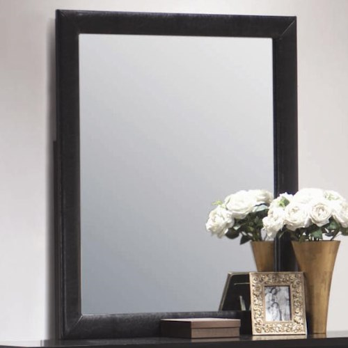 Coaster Dylan Vertical Faux Leather Dresser Mirror