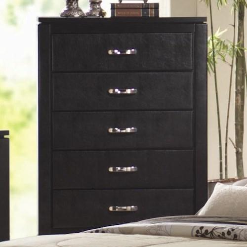 Coaster Dylan Faux Leather 5 Drawer Chest