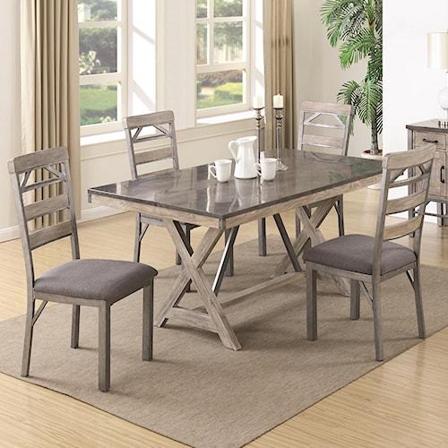 Coaster Edmonton 5 Piece Industrial Table & Chair Set