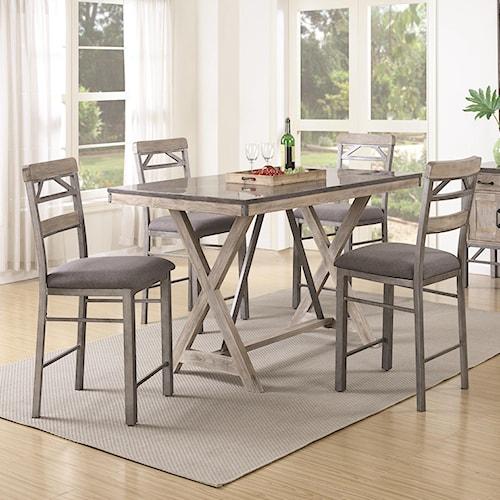 Coaster Edmonton 5 Piece Counter Height Table & Chair Set