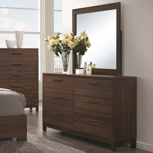 Coaster Edmonton Dresser with Six Dovetail Drawers and Mirror