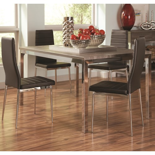 Coaster Eldridge 5 Piece Contemporary Table Set with Upholstered Chairs