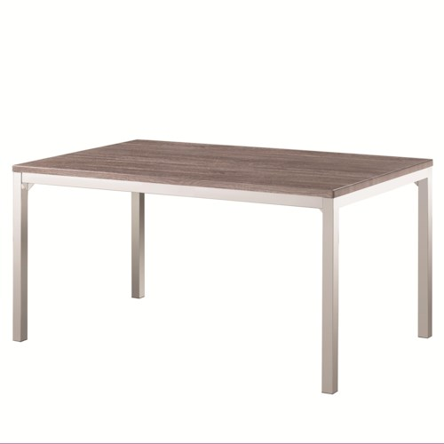 Coaster Eldridge Casual Dining Table with Weathered Table Top and Chrome Finished Base
