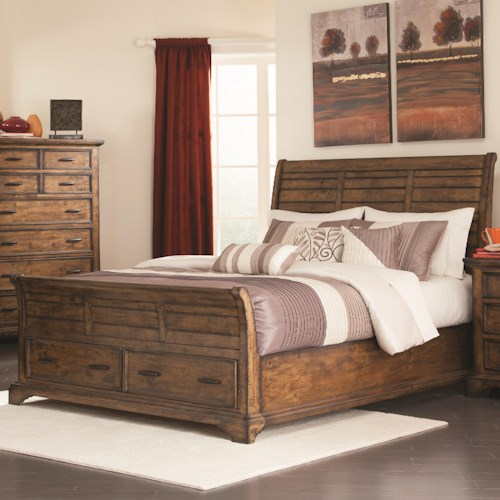 Coaster Elk Grove King Sleigh Bed with 2 Drawers
