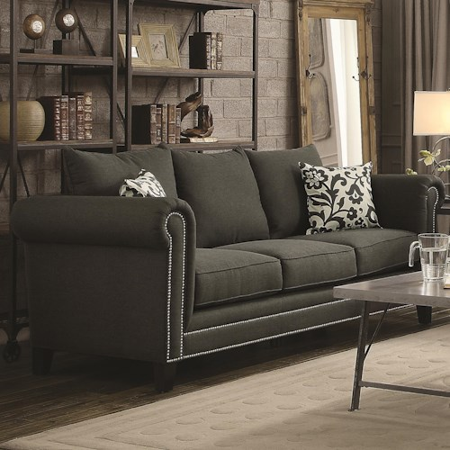 Coaster Emerson Transitional Rolled Arm Sofa with Pewter Nailheads