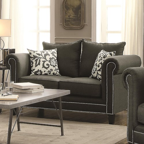 Coaster Emerson Transitional Rolled Arm Loveseat with Pewter Nailheads