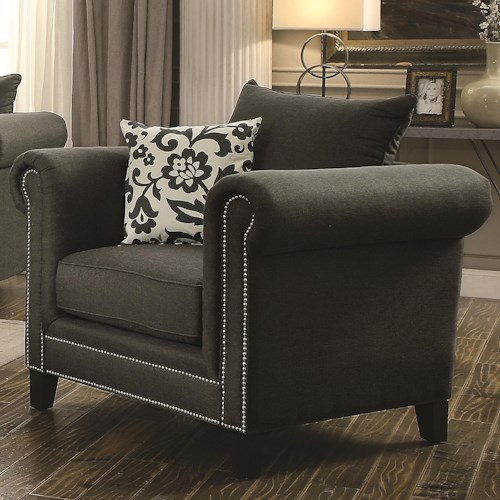 Coaster Emerson Transitional Rolled Arm Chair with Pewter Nailheads