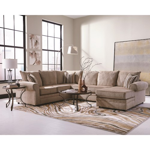 Coaster Fairhaven Cream Colored U-Shaped Sectional with Chaise