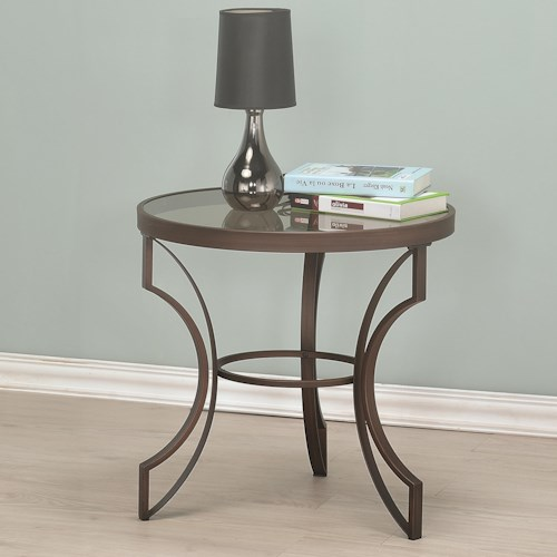 Coaster Fairhaven Round End Table with Bronze Frame and Glass Top