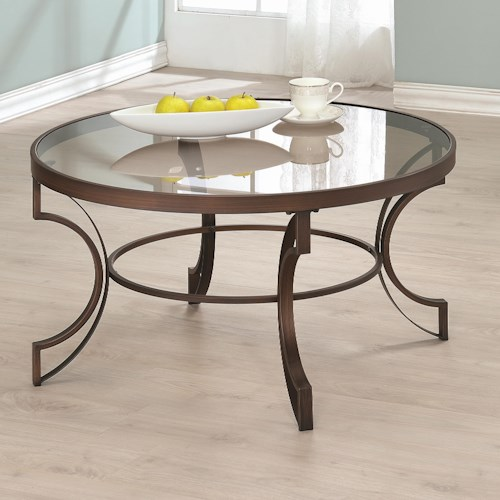 Coaster Fairhaven Round Coffee Table with Bronze Metal Frame