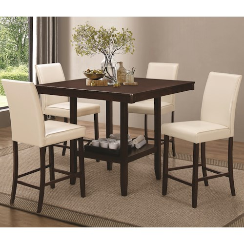 Coaster Fattori Counter Height Table Set with Leatherette Bar Stools