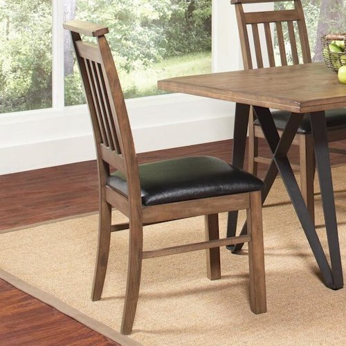 Coaster Ferguson Slat Back Side Chair with Leatherette Seat