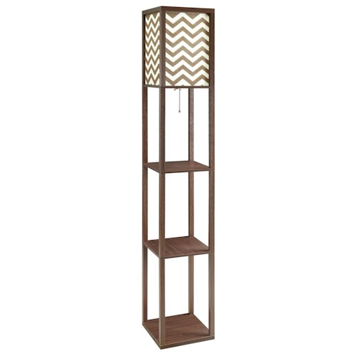 Coaster Floor Lamps Floor Lamp with 3 Shelves & Chevron Pattern Shade