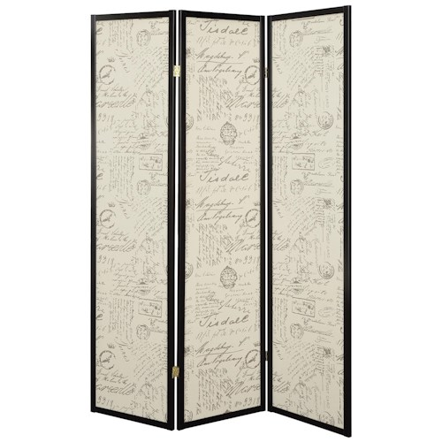Coaster Folding Screens Three Panel Folding Floor Screen with Vintage Style Postal Script Panels
