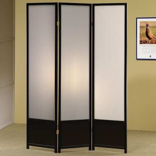 Coaster Folding Screens Three Panel Folding Floor Screen with Translucent Inserts