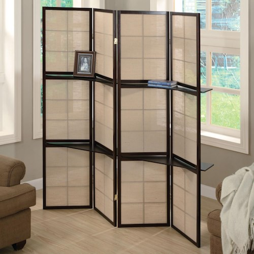 Coaster Folding Screens Folding Floor Screen with 4 Wood Shelves